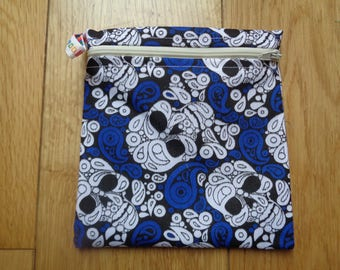 Snack Bag - Bikini Bag - Lunch Bag - Make Up Bag Small Poppins Waterproof Lined Zip Pouch - Sandwich bag  Eco - Blue White Skull Recycle