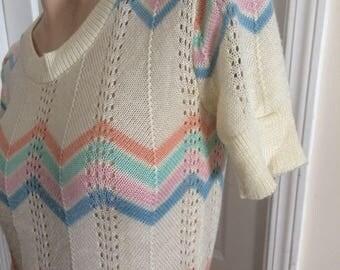 Pastel chevron stripe 70's knitted blouse