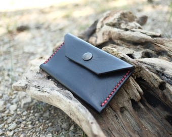 Slim Pocket Wallet - Black with Red stitching