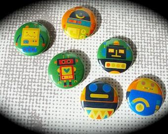 Set of 6 Badges 'Vintage Robots'