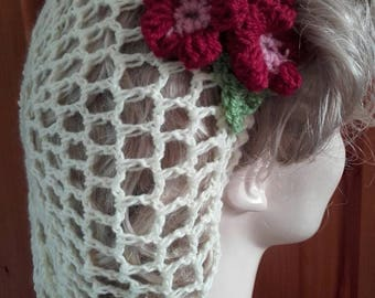 1940's hair, snood, vintage style,crochet, cream hairnet, wine hair flowers,