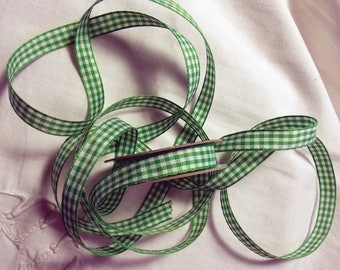 "Green and white ""vichy"" Polyester Ribbon"