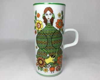 Royal Crown Arnart Smug Mug, Belles By Kitty 70s Tall Thin Mug