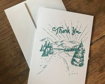 Thank you card - rustic drawing of mountain