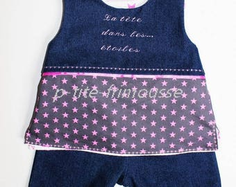 """Pants, tunic set baby girl reversible jeans."""" """"The head in the stars..."""""""