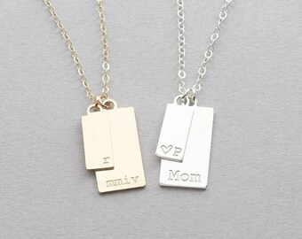 Initial Tags Necklace / Personalized Tags Necklace / Name plate necklace / Bar necklace / Bridesmaid Gift (OL 2V 6.13-11.20 )