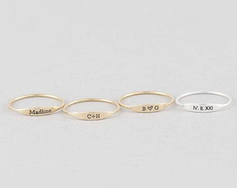 Stackable Personalized Name Rings, Custom Name Ring, Name Bar Ring, Stacking Ring in Silver and Gold Filled (HCR OF 15.3)