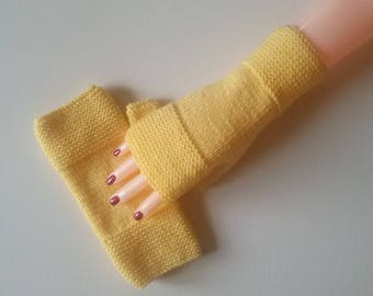 Fingerless gloves women, teen knitted yellow chick color hands