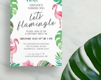 flamingo birthday party invites // girl birthday party invitations // little girl birthday // lets flamingle // palm leaves printed invites