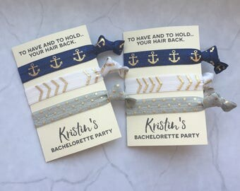 bachelorette party favor hair ties // to have and to hold.. your hair back // NAUTICAL // custom