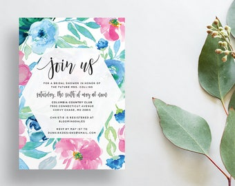 Watercolor Floral Shower Invites / Pink Blue Green Flowers / Calligraphy / Semi-Custom Party Bridal Shower Invites / Printed Invitations