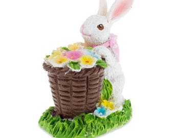 "3"" Bunny with Easter Basket full of Flowers"