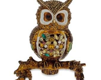 """3.4"""" Faberge Royal Owl Jewelry Trinket Box Figurine"""