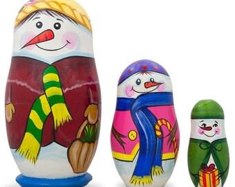 "4.25"" Set of 3 Snowman Family Wooden Nesting Dolls"