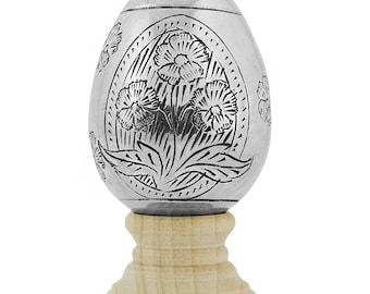 """3"""" Hand Embossed Flowers Metal Easter Egg"""