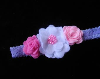 ideal christening and baby girl pink and white color felt baby headband baptism ceremony wedding party hair accessory