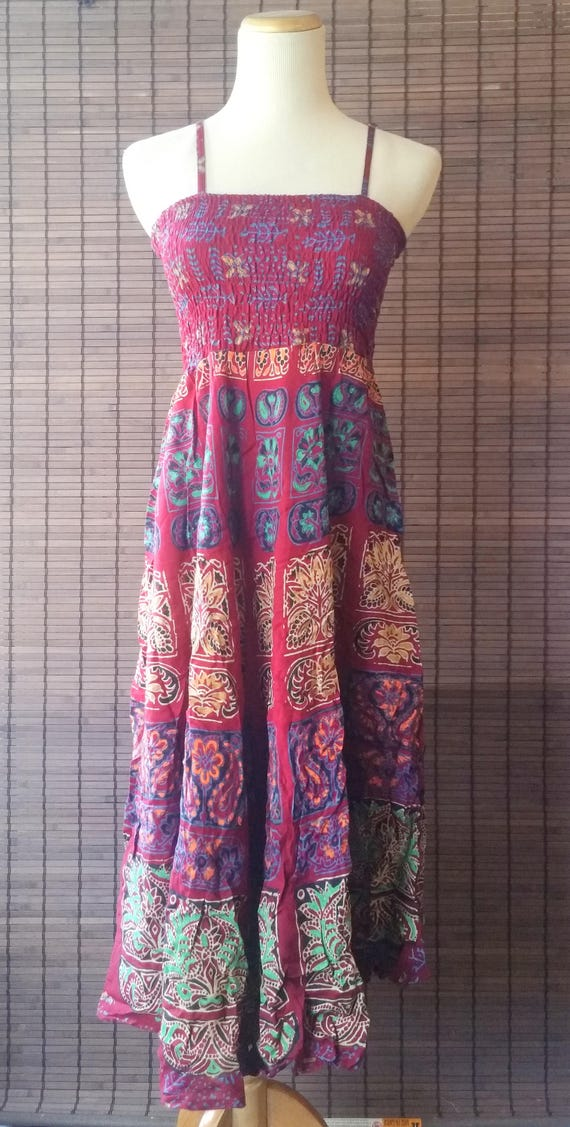 XS/S/M Burgundy Bohemian Boho dress|Gypsy dress|summer dress|Beach dress|Mandala dress|ethnic dress|1970 style dress|Spaghetti top Dress