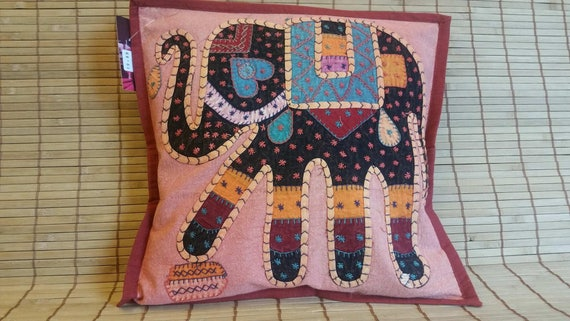Elephant print Patch work cushion cover, ethnic pillow, decorative pillow, boho bedroom decor, Bohemian decoration, Stone wash cotton