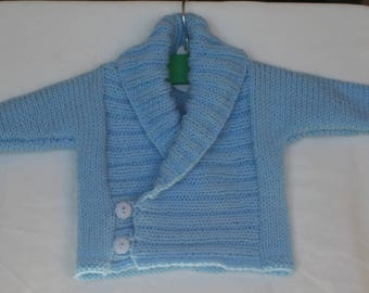 Baby collared Cardigan large size 0/3 months blue handmade