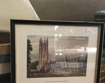 Magdelen College in England from the bridge framed
