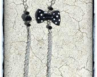 Double long necklace chain black bow and black glass beads - DESTASH