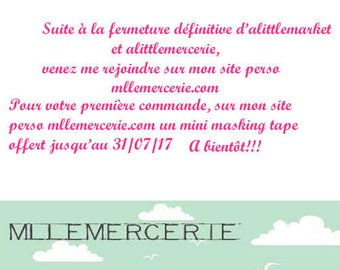 Following the closure of the site, come join me on mllemercerie.com