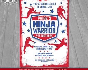 American Girl Ninja Warrior Invitation - Ninja Warrior Invite - American Ninja Warrior Printed or Printable Invitation Party (NWIN08)