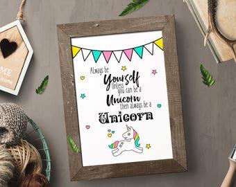 unicorn nursery art, Printable, home decor, unicorn, gift for her, nursery decor, digital print, instant download, always be a unicorn