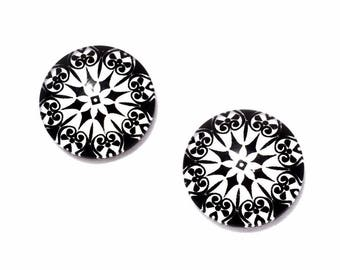 set of 2 black geometric pattern glass cabochon