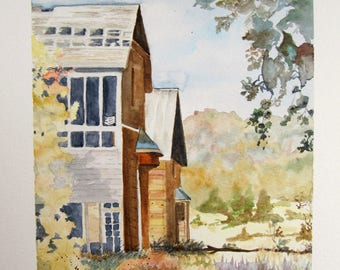 """watercolor painting landscape """"houses in the forest"""""""