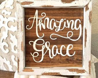 Amazing grace sign, christian sign, baptism gift, confirmation gift, grace, first communion gift, christian art, housewarming gift, easter