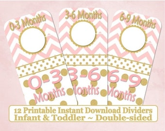 SALE Printable 12 Baby Toddler Double-Sided Closet Dividers Pink Gold Dots Chevrons Sizes NB-6 - DIY Instant Download - Baby Shower Gift Nur
