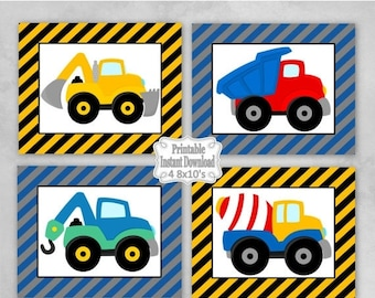 SALE Printable Construction Trucks Nursery Wall Art Decor Baby Child Kids Little Boy ~ DIY Instant Download ~ 4 8x10 Prints
