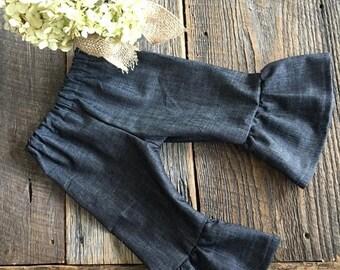 Sale Baby Girl Ruffle Pants - Girl Ruffled Bottoms - Denim Ruffle Pants - GIrls Ruffle Bottoms