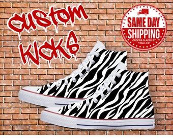Zebra Custom Shoes Zebra Print Custom Converse All Stars Chuck Taylor Shoes offered in Men's and Women's Sizes. Animal Print Shoes