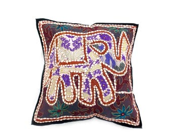 """Indian Pure Cotton Cushion Cover Home Elephant Work Decorative Multi Color Size 17x17"""""""