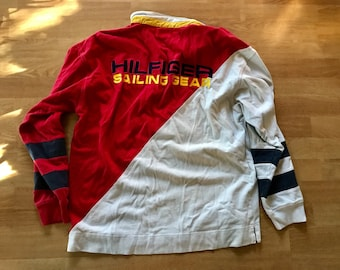 Vintage Tommy Hilfiger shirt / 90s colorblock sailing gear long sleeve polo shirt / men's large extra large / patches