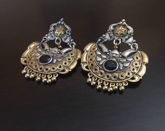Gorgeous chandBali Earrings in dual tone finish/ bollywood earrings/ chand bali/ ethnic earrings/ antqiue chandelier/ silver jhumkas
