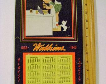 Vintage 1940 Watkins Paper Calendar