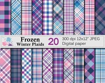 "Winter Plaid Digital Paper, ""FROZEN WINTER"" Plaid Pattern, Blue Purple Pink Plaid Printable Scrapbook Paper, Digital Download"