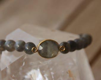 labradorite on elastic bracelet