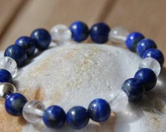 Bracelet with semi-precious lapis lazuli and quartz beads