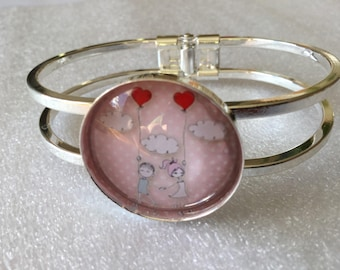 """Valentine"" support silver puff hearts and love theme glass cabochon bracelet"