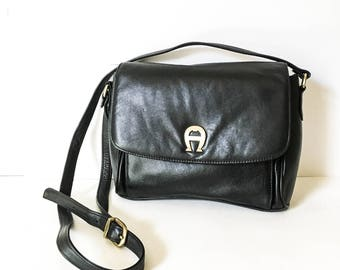Etienne Aigner leather handbag - Vintage Black leather shoulder bag - Leather cross body bag - Black leather satchel - Hipster cross body -
