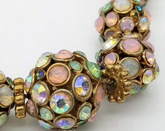 Vintage Aurora Borealis Rhinestone Cluster Bead Necklace