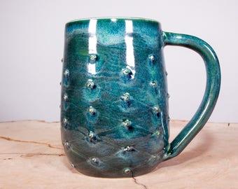Green tufted handmade coffee pottery mug, Coffee Mug, Custom Mug, Wheel thrown pottery mug, Stoneware mug