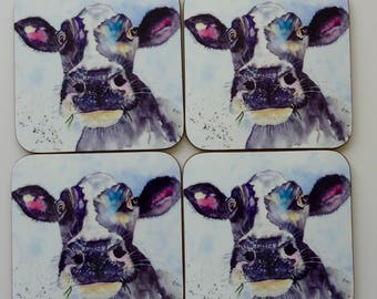 Set of 4 printed coasters featuring MOO from a watercolour by Pauline Merritt