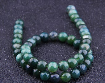 """Green Agate Beads , Smooth Agate beads , gemstone Beads , Round agate beads , Natural 4-12mm Agate beads , Bracelet beads 15"""" Strand"""