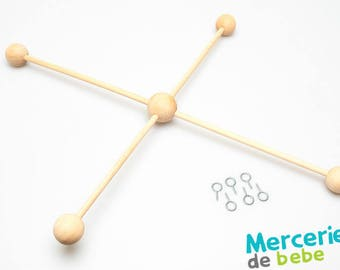 Support 4 branches mobile wooden hanging - natural-Diam: 35cm
