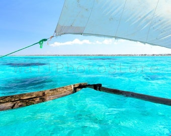 Dhow Sailing, Clear Aquamarine Water, Sail, Indian Ocean, Sailing Boat, Zanzibar, Ocean Art, Ocean Print, Wall Art Print, Travel Photography